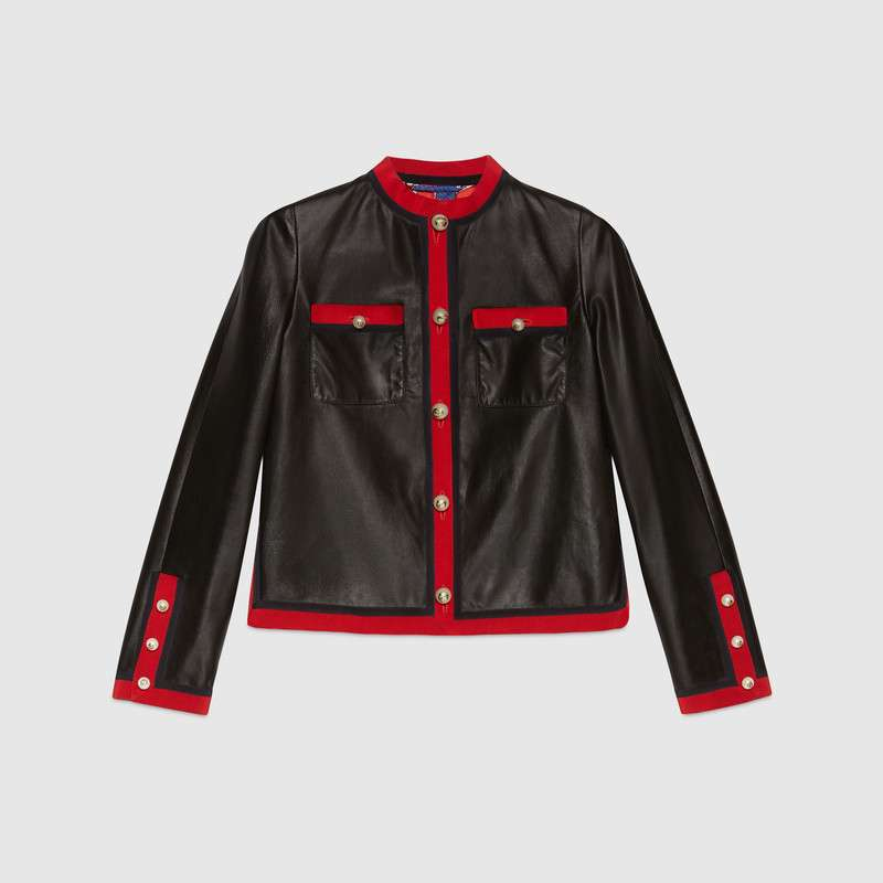 Leather jacket with grosgrain trim