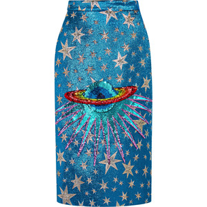 GUCCI Sequin-embellished metallic jacquard midi skirt