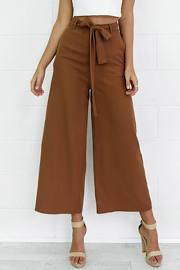 Loose Belted Wide Leg Palazzo Capri Pants Cropped Pants