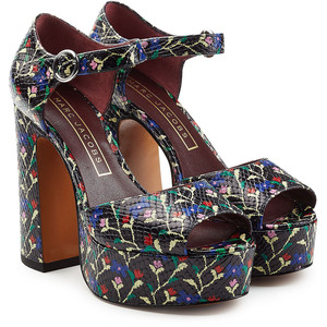 MARC JACOBS  Printed Leather Platform Sandals