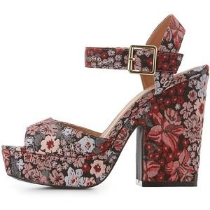 Qupid Brocade Platform Two-Piece Sandals