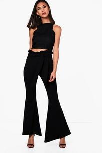 BLACK Paperbag Waist Flare Trouser
