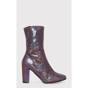 ADREENA BLACK HOLOGRAPHIC HEELED BOOTS