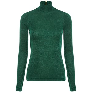 LIME KAREN WALKER Metallic Turtleneck Knit Top