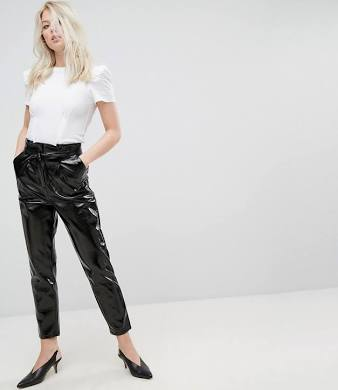 Miss Selfridge Paper Bag High Waisted Vinyl PANTS