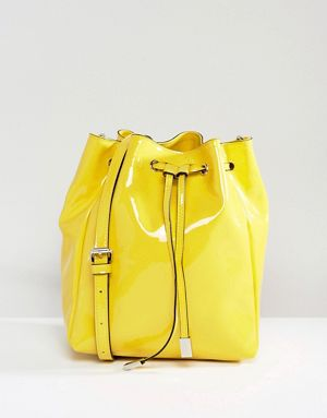 ASOS Patent Minimal Bucket Bag With Detachable Straps