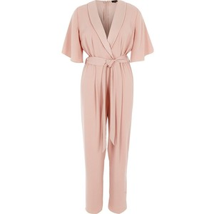 Pink three quarter sleeve tailored jumpsuit