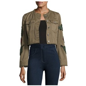 Cinq à Sept Halina Crop Denim Jacket W/ Logo Patches, Olive
