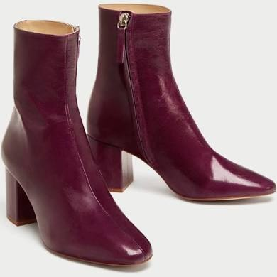violet LEATHER ANKLE BOOTS WITH BLOCK HEEL