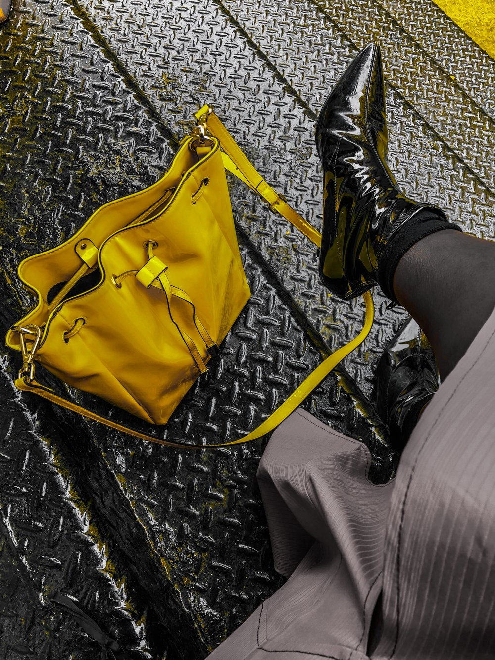 asos yellow bucket bag
