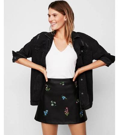 Mid Rise (Minus The) Leather Embroidered A-Line Mini Skirt