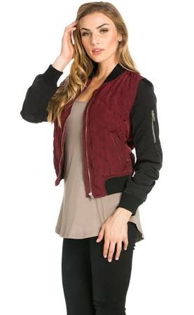 Two-Tone Quilted Bomber Jacket in Burgundy