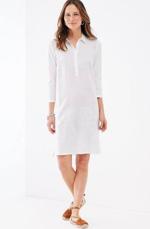 Embroidered Mixed-Media Shirtdress