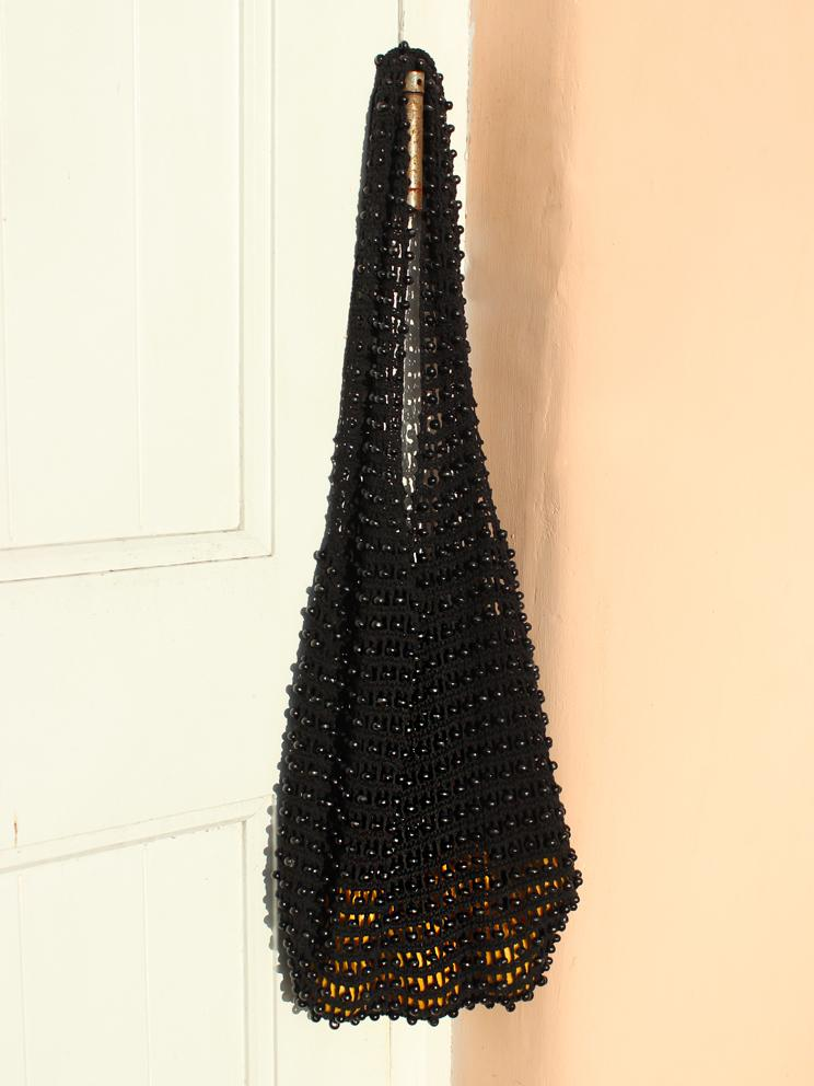 Kama Wooden Beads Bag in Black