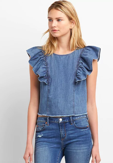 Denim Ruffle Sleeve Top