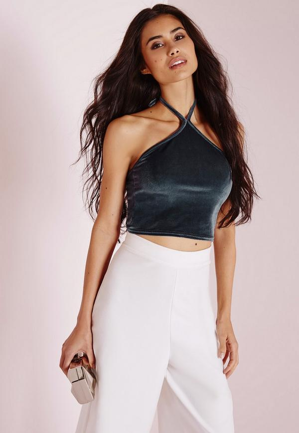 halterneck velvet crop top ice grey