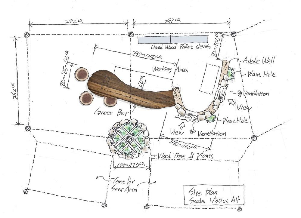 自然建築吧檯俯視圖