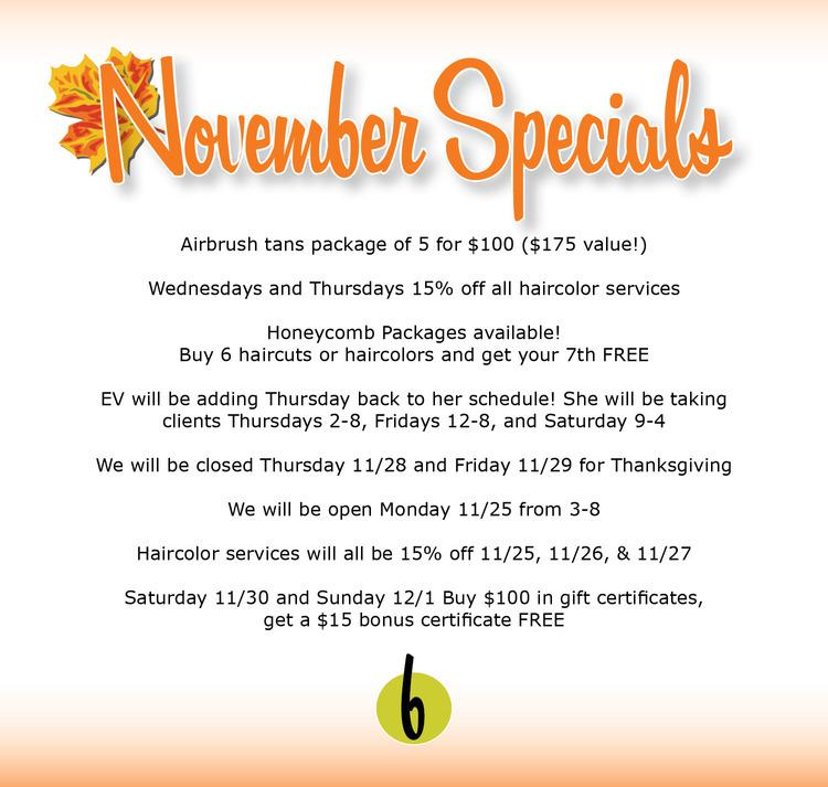 November Specials Beehive Salon