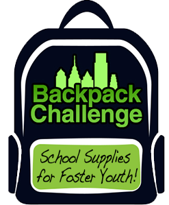 We are collecting school supplies for high school and college-bound youth in Philadelphia's foster care system. Please stop by to donate or visit backpack challenge to make an online donation.   flashdrives    pens    pencils    erasers    day planners    scientific calculators    post-it notes    highlighters    binders                                lanyards/keychains    water bottles    spiral notebooks    folders    gift cards