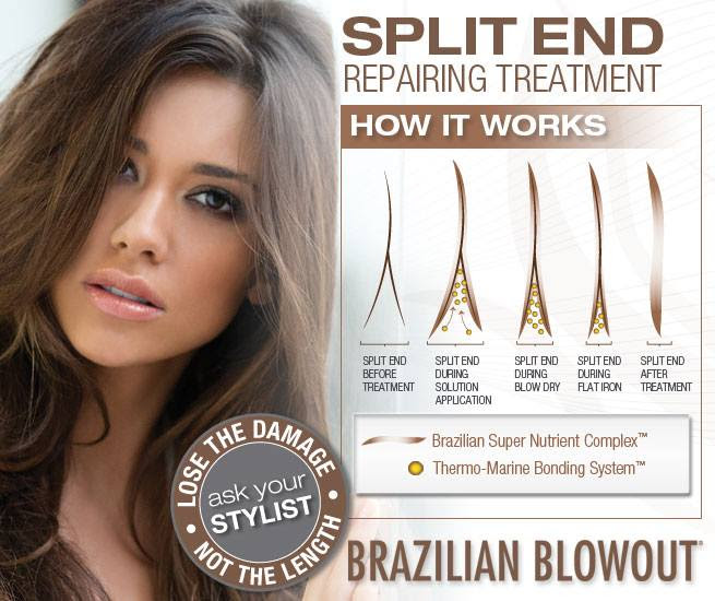 The Only In-Salon Service That Instantly Mends & Prevent Split Ends AND Prolongs The Shape of Your Cut! Utilizing a proprietary Thermo-Marine Bonding System™, this treatment fills in and binds broken hair fibers together, instantly mending split ends while a Brazilian Super Nutrient Complex prevents future breakage by surrounding each strand with a protective coating, defending against daily styling and environmental stressors. The end result is instantly repaired, stronger, healthier ends protected against future breakage.  regular price $60 SEPTEMBER SPECIAL $50 or add to your color service for just $40