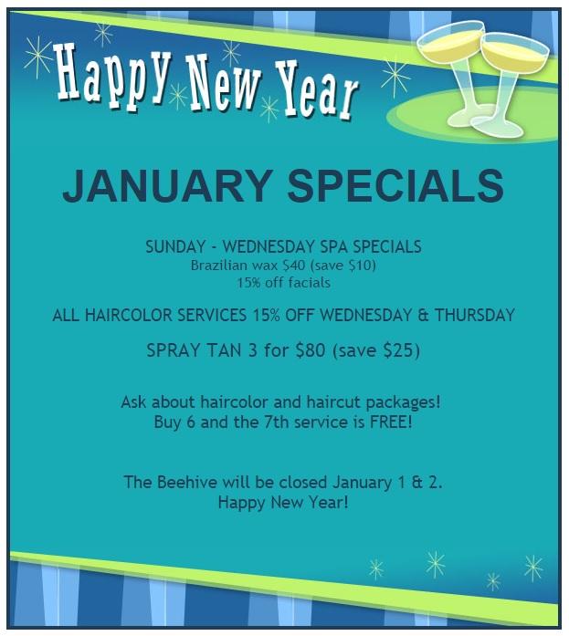 January Specials Beehive Salon