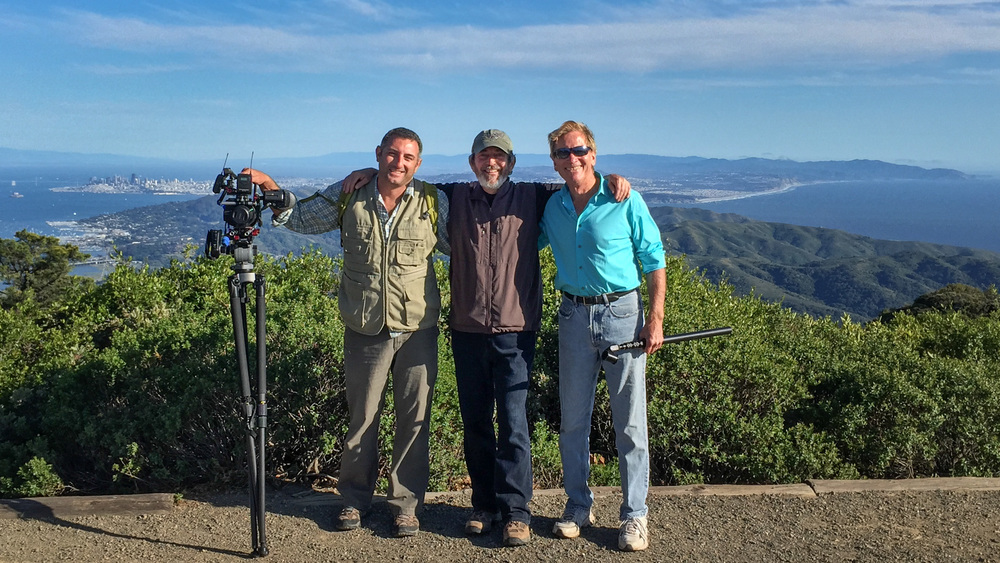 Jordan Plotsky, Gary Yost and Doug McConnell on East Peak shooting the Open Road show about Mt. Tam.  April 13, 2015
