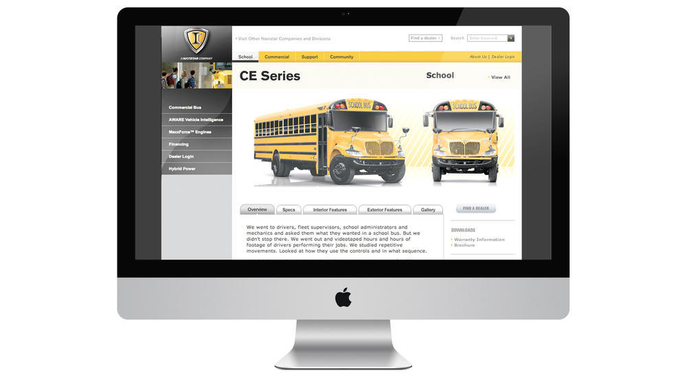 IC Bus Corp, one of the many companies under the Navistar brand, offered a full line of school and corporate buses. A site was needed that could  both communicate the overall brand as well focus on two very different product lines and customers.