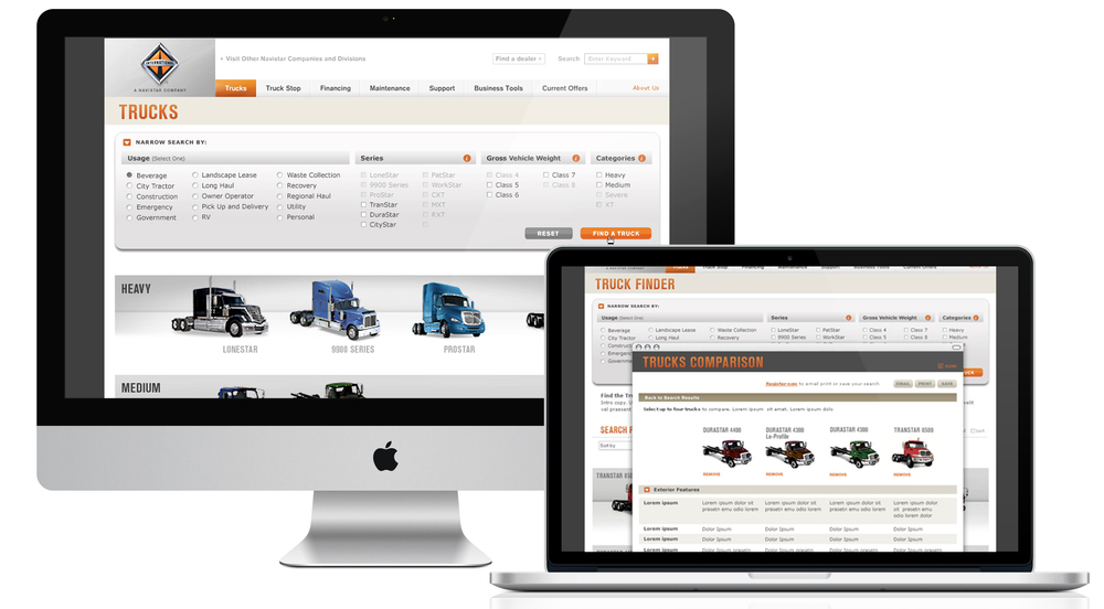 Customers ranged from large fleets to small business owners to independent truckers, many of whom relied on the website to figure out which truck(s) was right for their needs. A truck finder application was developed that provided direction, filters and comparisons.