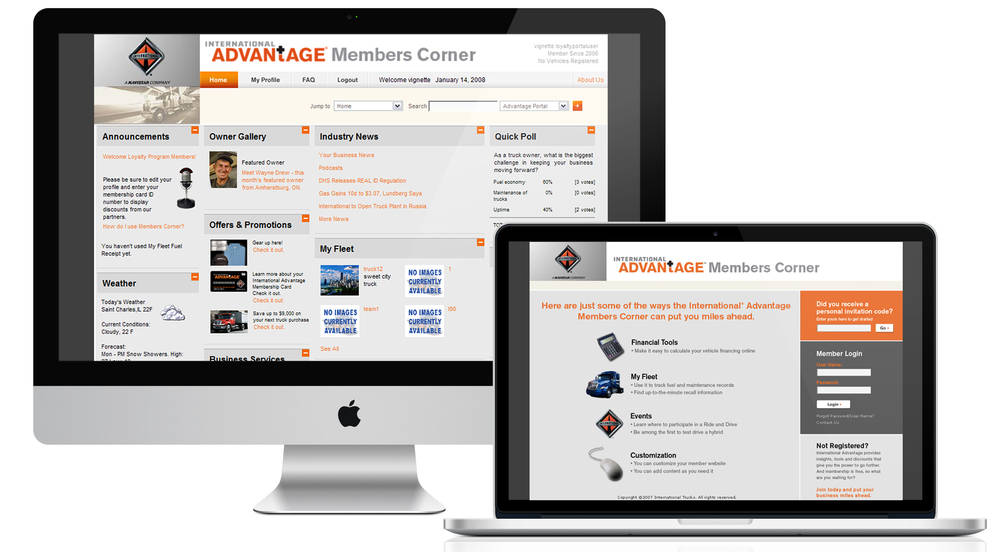 IA Members only website that each member could customize to their needs.