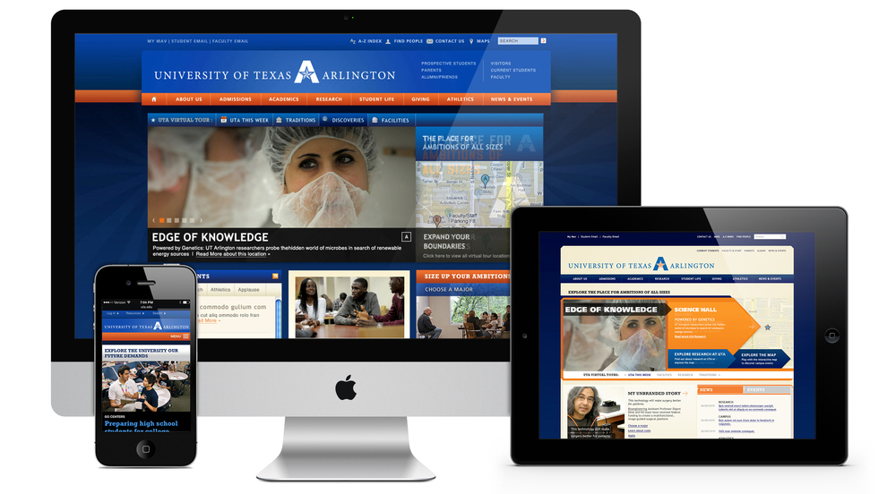 University of Texas at Arlington website  full redesign