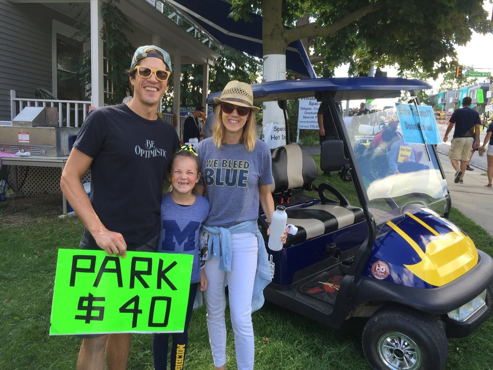 Michigan Football Parking at the North End Zone. It's a family affair!