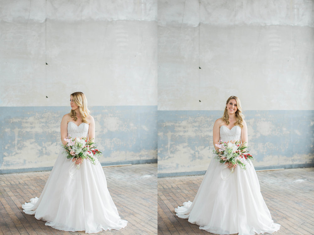 Beautiful bride in wedding dress at Taylors Mill