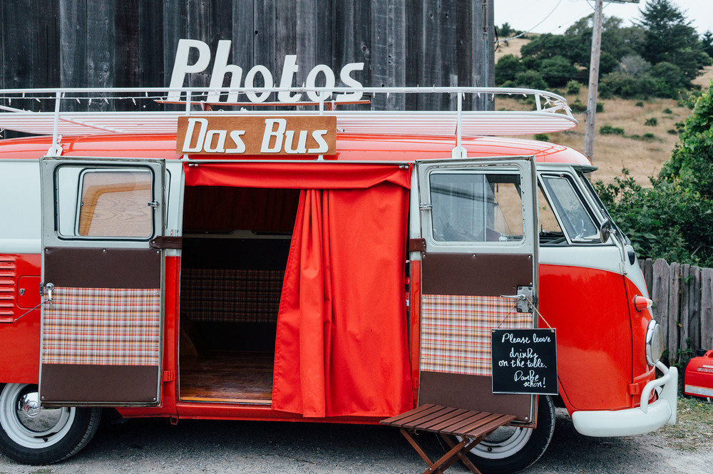 Das Bus at the Mann Family Farm in Bolinas, CA. Photo by wedding guest.
