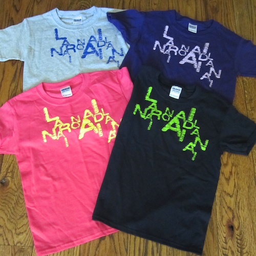 Falling Letters t-shirt ,$15,   Youth XS-XL    Navy, grey, purple, pink. 100% cotton