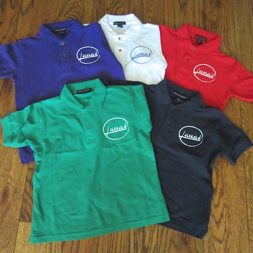 Youth polo shirt, $20, XS-L Navy, white, red, purple, green 65% polyester, 35% cotton