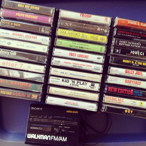 "Somehow ""Do the Bartman"" made it to our R&B cassette collection. This is only 1/8 of it. #oldschool #80s #90s #slowjams  (Taken with  Instagram )"