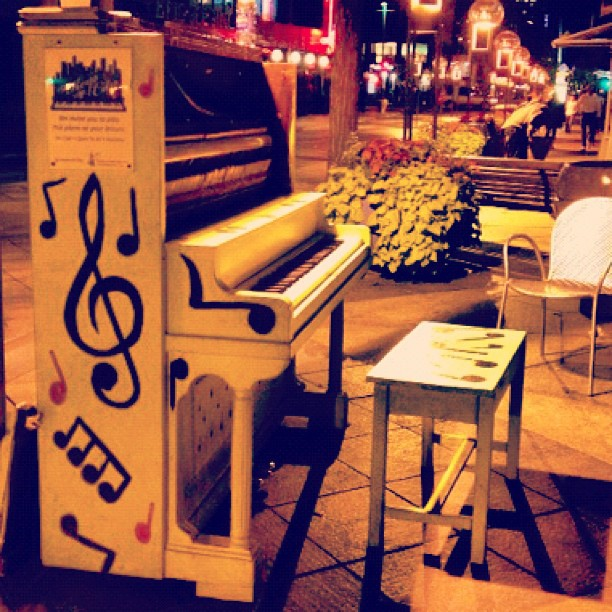 In downtown Denver, there are different pianos on every block for anyone to play. Open mic outside…so neat! (Taken with  Instagram )