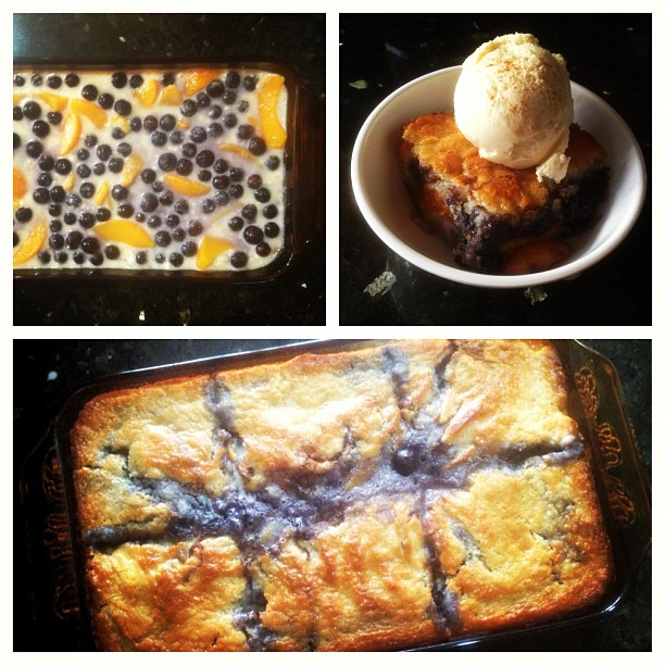 Woke early needing potassium and antioxidants so I made blueberry peach cobbler. 😉 (at Mia casa)