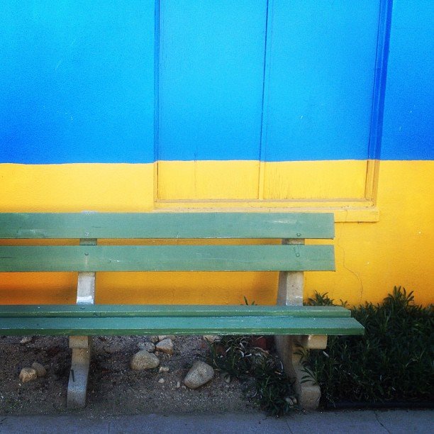 When I saw this, my mind went a little crazy. First, I instantly thought of previous benches I've photographed, which made me believe, I really love benches. Second, I felt inspired to give myself a project to take photos of colors that equal another such as this. Blue and green equals green. Or, should I just make an abstract painting? Either way, it'd be quite a challenge. Third, conversations with a friend, stranger, someone while sitting on a bench (even in silence, just company) could change the rest of one's life forever. It happened.I seriously feel this is my best bench photo so far, simply cause of the colors involved.