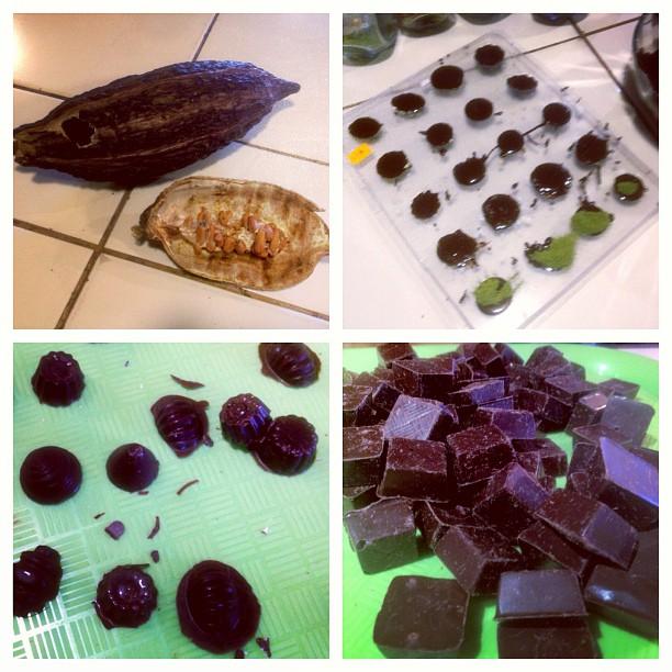 Made dark chocolates with a bit of coca. 🍃🍫😀 #cuscoperu