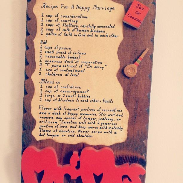 Cute recipe sign. #vintagevows #nomatterwhat  #perfectforitsaweddingyear #cheersandcongratsall (at lab 3)