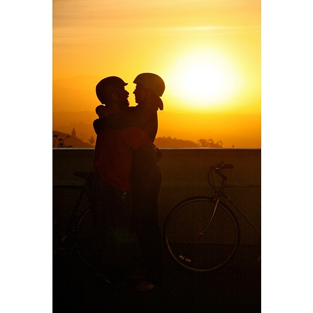 True love stories never have endings. -R. Bach                                    PS. Happy bike to work day! #51514 #la #gometro #walkit  #gphoto4314 #bikersinlove #sunrise #canon #nofilter (at Griffith Observatory)