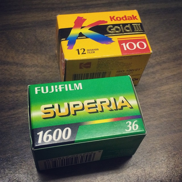 Which to load next? They're both expired. #kodakgold100 #1999 #superia1600 #2014 #neatfind #slo #decisionsdecisions #ineedarefridgerator #fuji #kodak #film #filmisnotdead