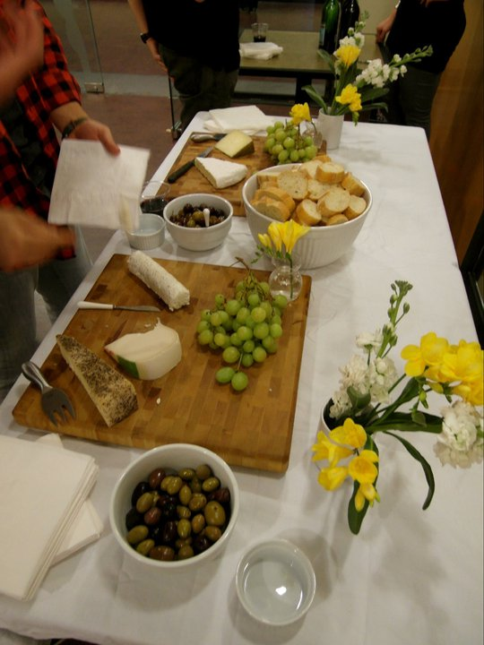Lecture Reception / cheese, olives, grapes, flowers