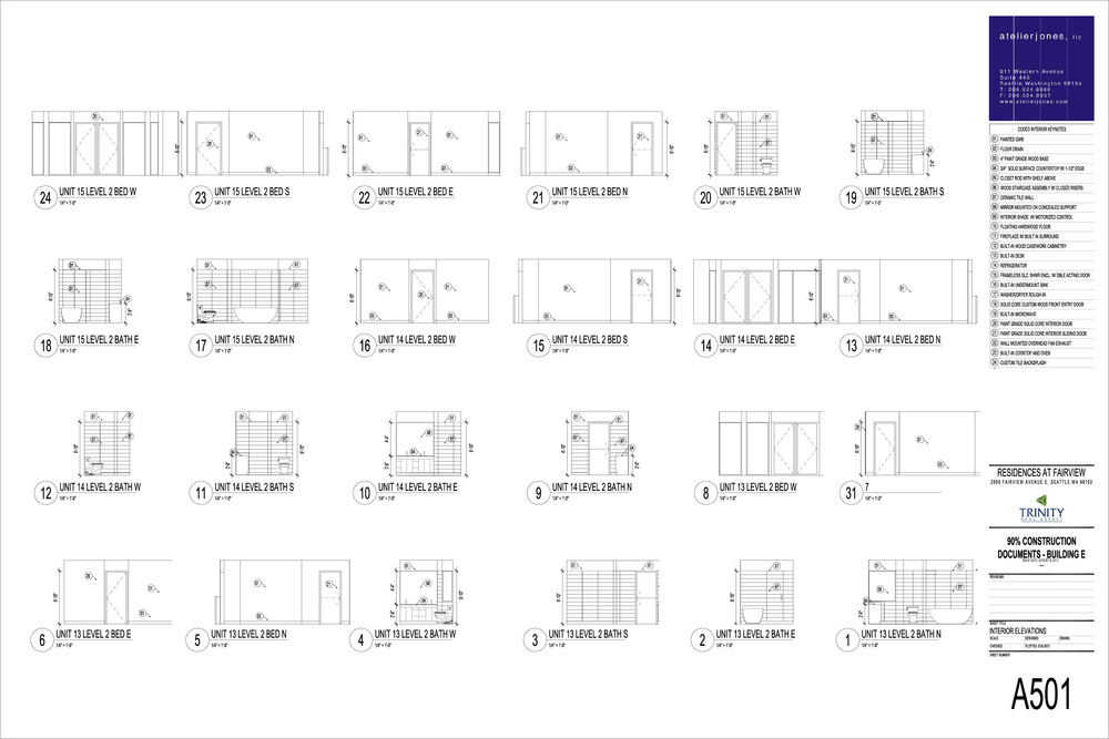 Residences at Fairview / Interior Elevations, Level Two