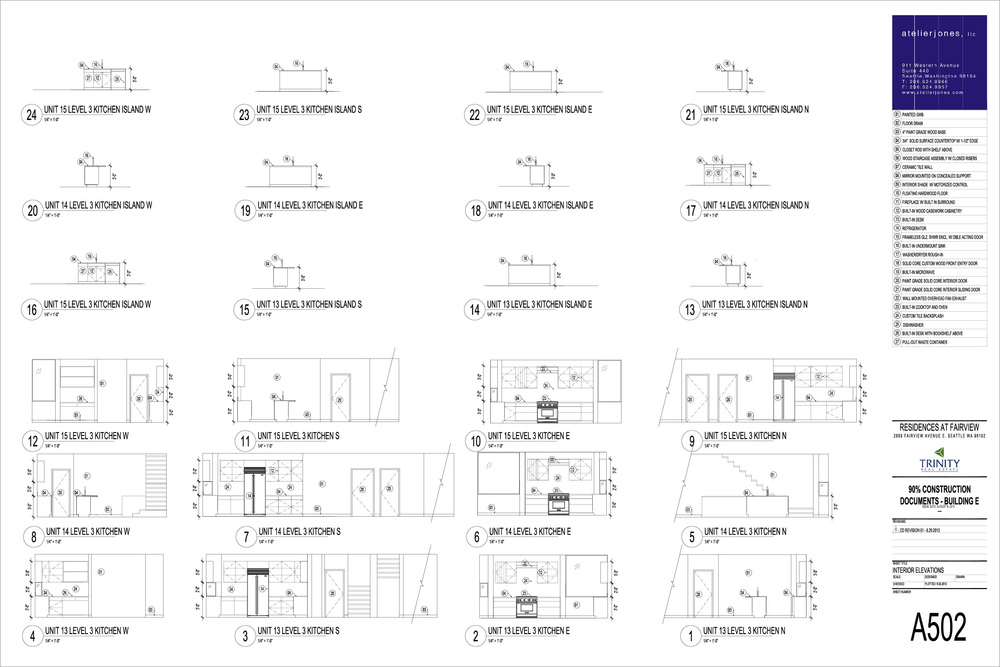 Residences at Fairview / Interior Kitchen Elevations, Level Three