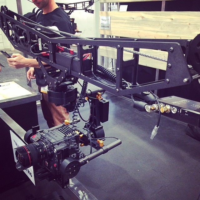 "Love this crazy cable rig from #dactylcam sporting a stretched 20"" CineCoil! #nabshow #r3d #nab2014"