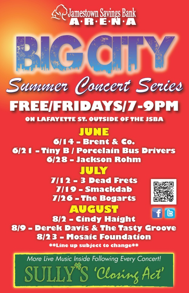Free Summer Concert Series in Jamestown, NY. The best entertainment in Chautauqua County.