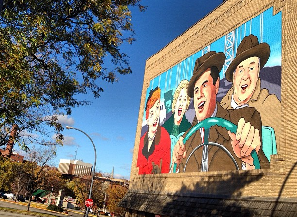 The first colorized and the largest Lucy mural in the world is in Jamestown, NY.