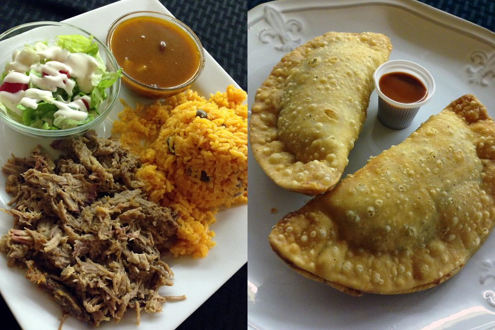 Caribbean Diner's rice, beans, pork, and salad combo with empanadillas and chipotle dipping sauce.